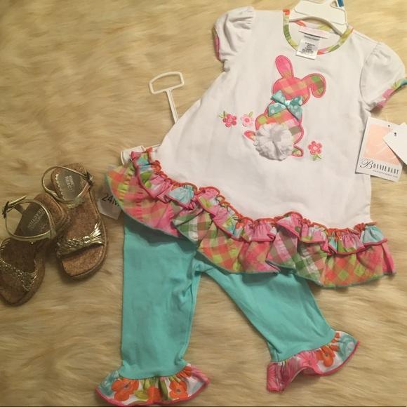 3ec85757156e Bonnie Baby Matching Sets   Bunny 3 Piece Set Top Pants Sz 24 M ...